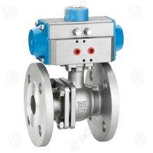 Industrial Stainless Steel Pneumatic 2PC Ball Valve Flanged End with Direct Mounting Pad