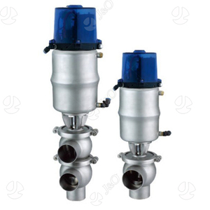 Sanitary SS304 Pneumatic Welded End Divert Valve with Actuator