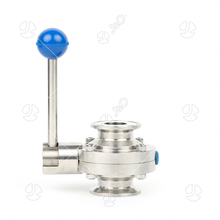 Sanitary Food Grade Stainless Steel Round Pull Handle SS304 SS316L Tri Clamp Butterfly Valve