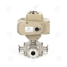 Square Sanitary Stainless Steel Electric Clamped 3 Ways Ball Valve