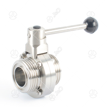 Sanitary Stainless Steel Male Thread Butterfly Valve with Square Pull Handle